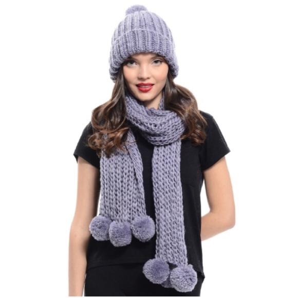 Gray Vegan Chunky Knit Hat Scarf Set NWT e1c52ea1304